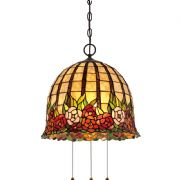 Rosecliffe Pendant in Imperial Bronze and Tiffany Glass - QUOIZEL QZ/ROSECLIFFE/P